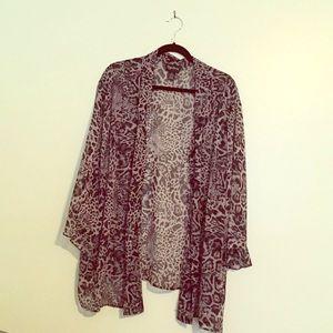 Sheer animal print blouse